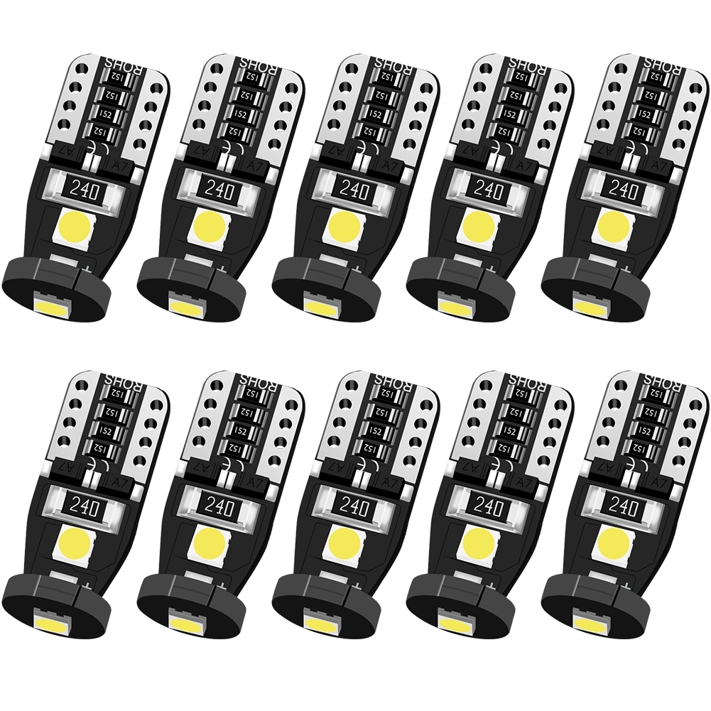 Zitrades 10PCS LED Bulb Compact Wedge Type T10 168 175 2825 W5W LED Bulbs Super Bright 3030 SMD LED Chip 6000K White for Car Interior Dome Map Door Trunk License Plate Park Lights