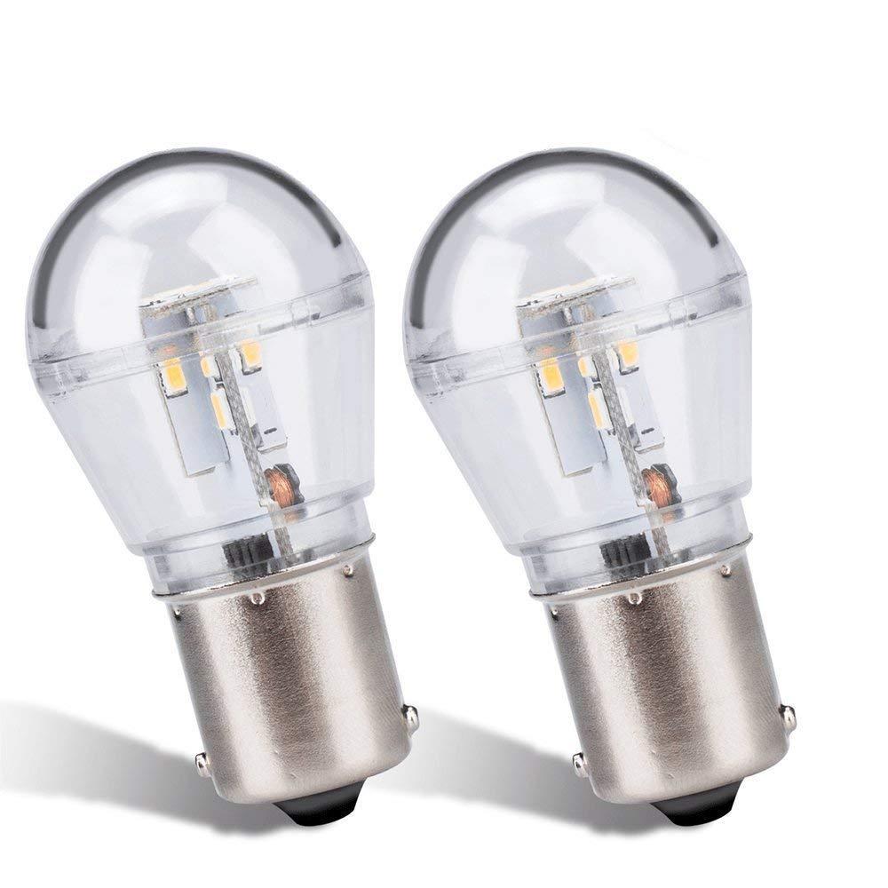 Zitrades 2PCS BA15S S8 LED Bulb White Waterproof LED Light Bulb 12V AC/DC for Car, Boat, RV Lights