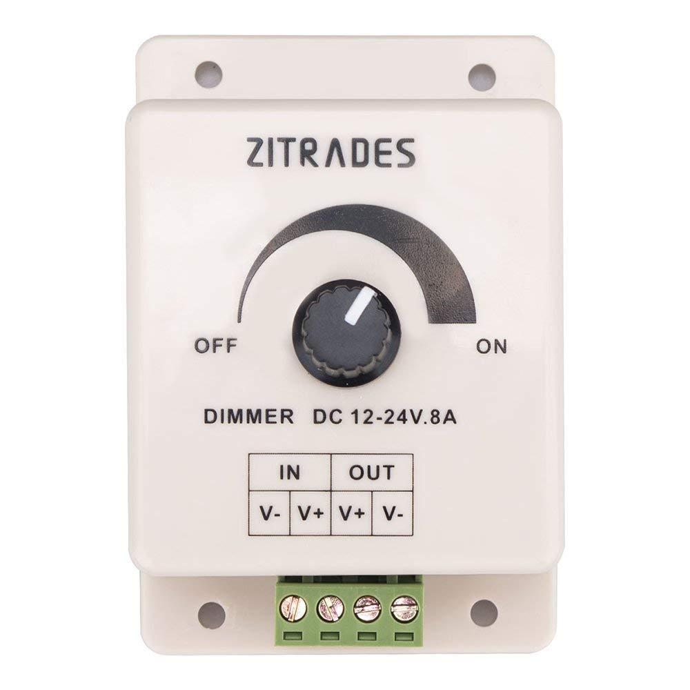 PWM Dimming Controller For LED Lights or Ribbon, 12 Volt 8 Amp,Adjustable Brightness Light Switch Dimmer Controller DC12V 8A 96W for Led Strip Light By Zitrades