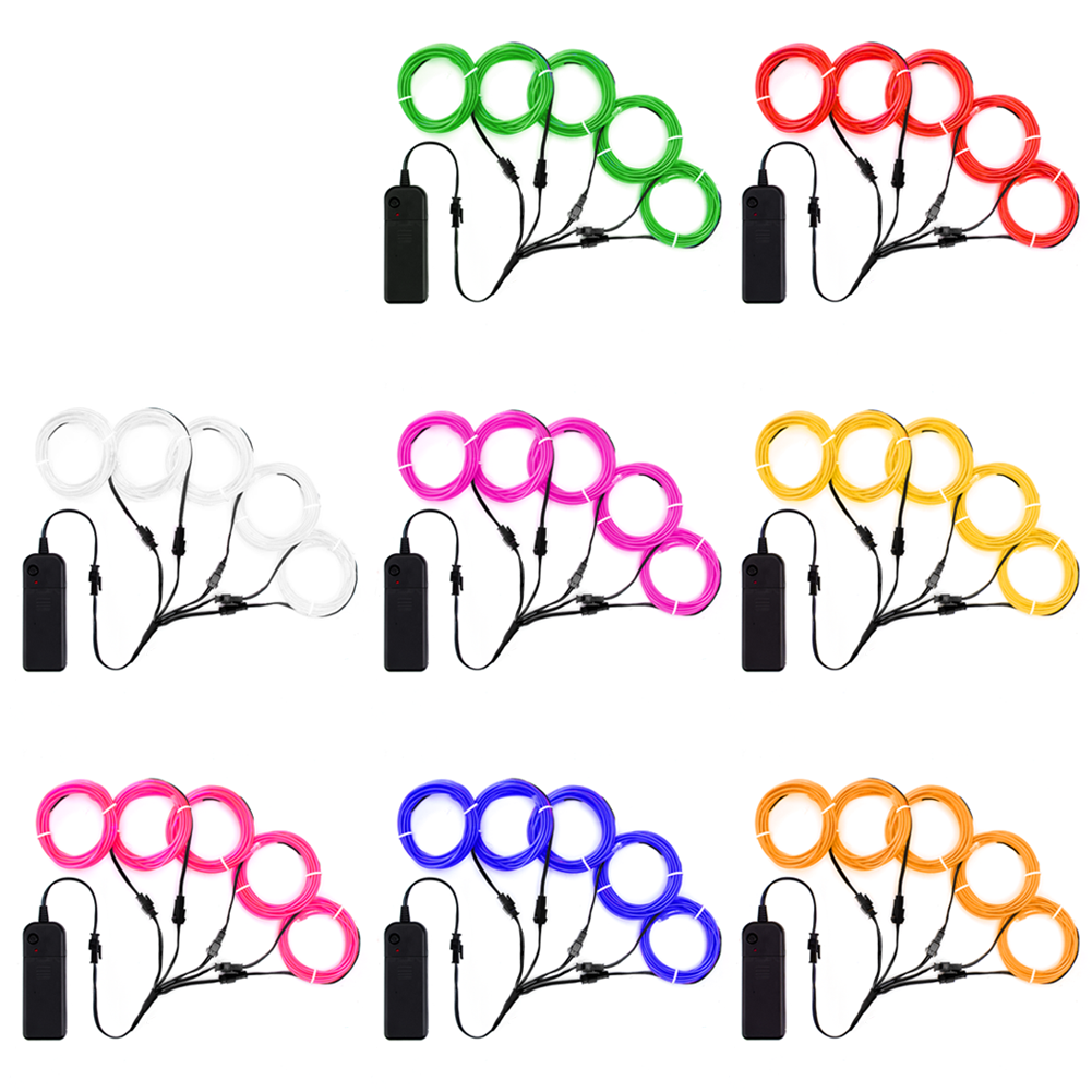 EL Wire Kit 5 By 1-Meter (8 Pack, Red, Green, Pink, Purple, Blue, White, Yellow, Orange)