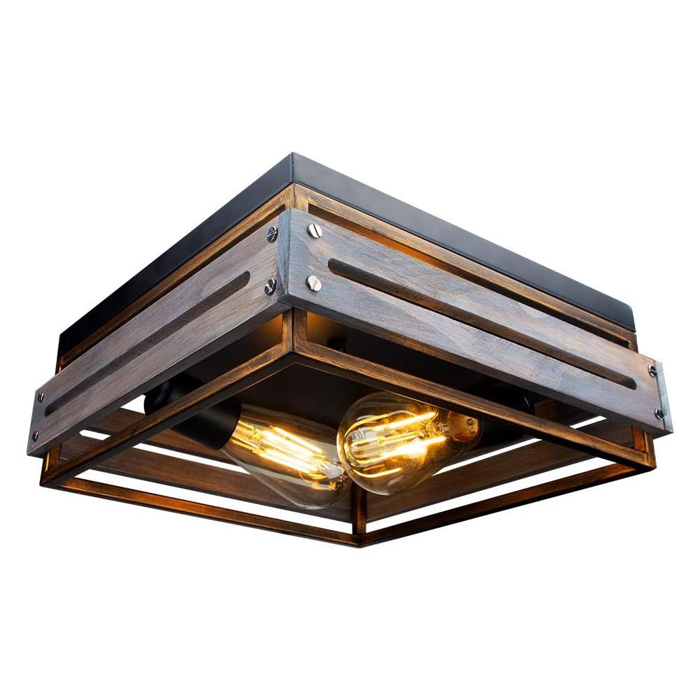 Plafonnier Farmhouse 2 Lumières Plafonnier industriel Luminaires de ferme