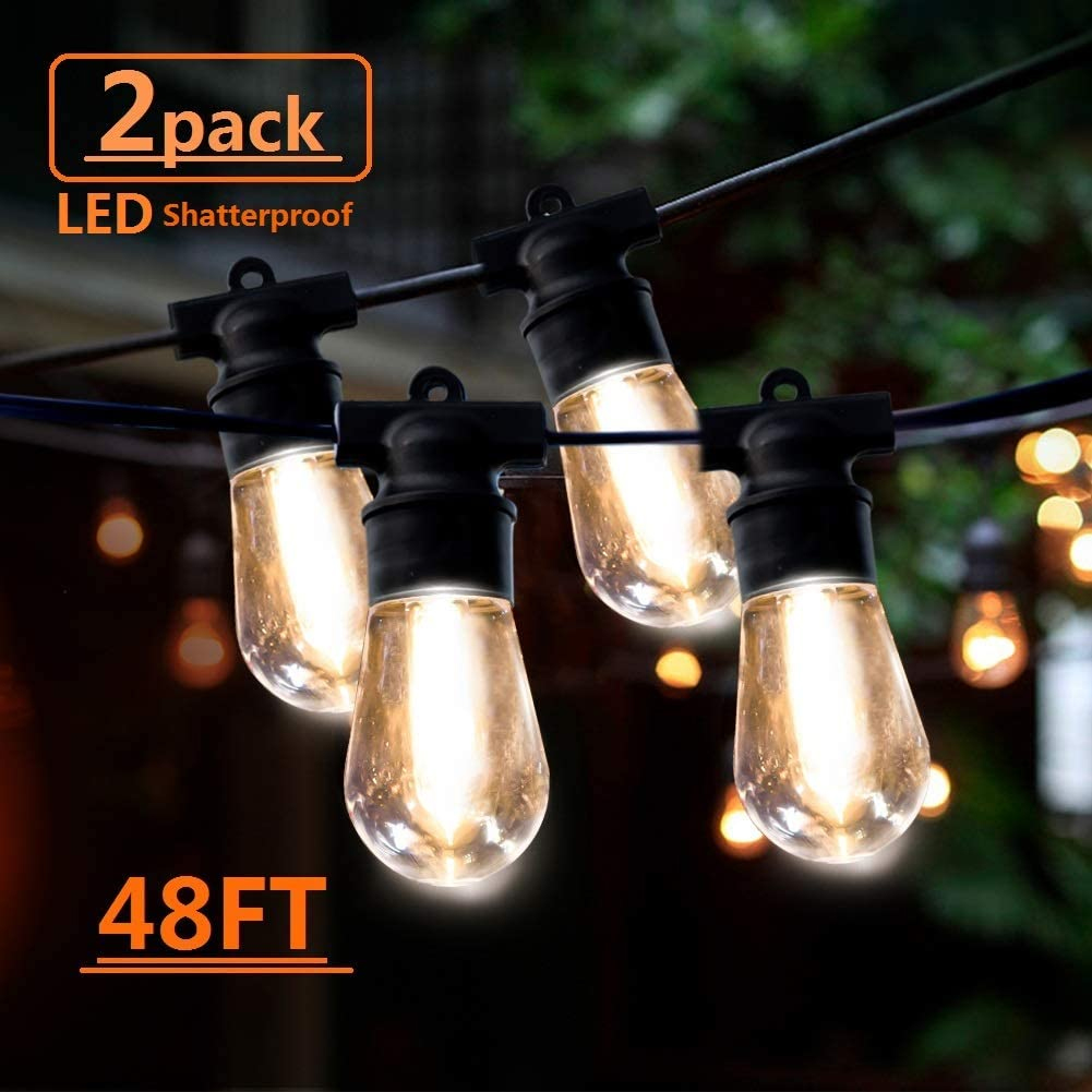 2 Pack 48FT LED String Lights Commercial Hanging Lights String S14 Bulbs