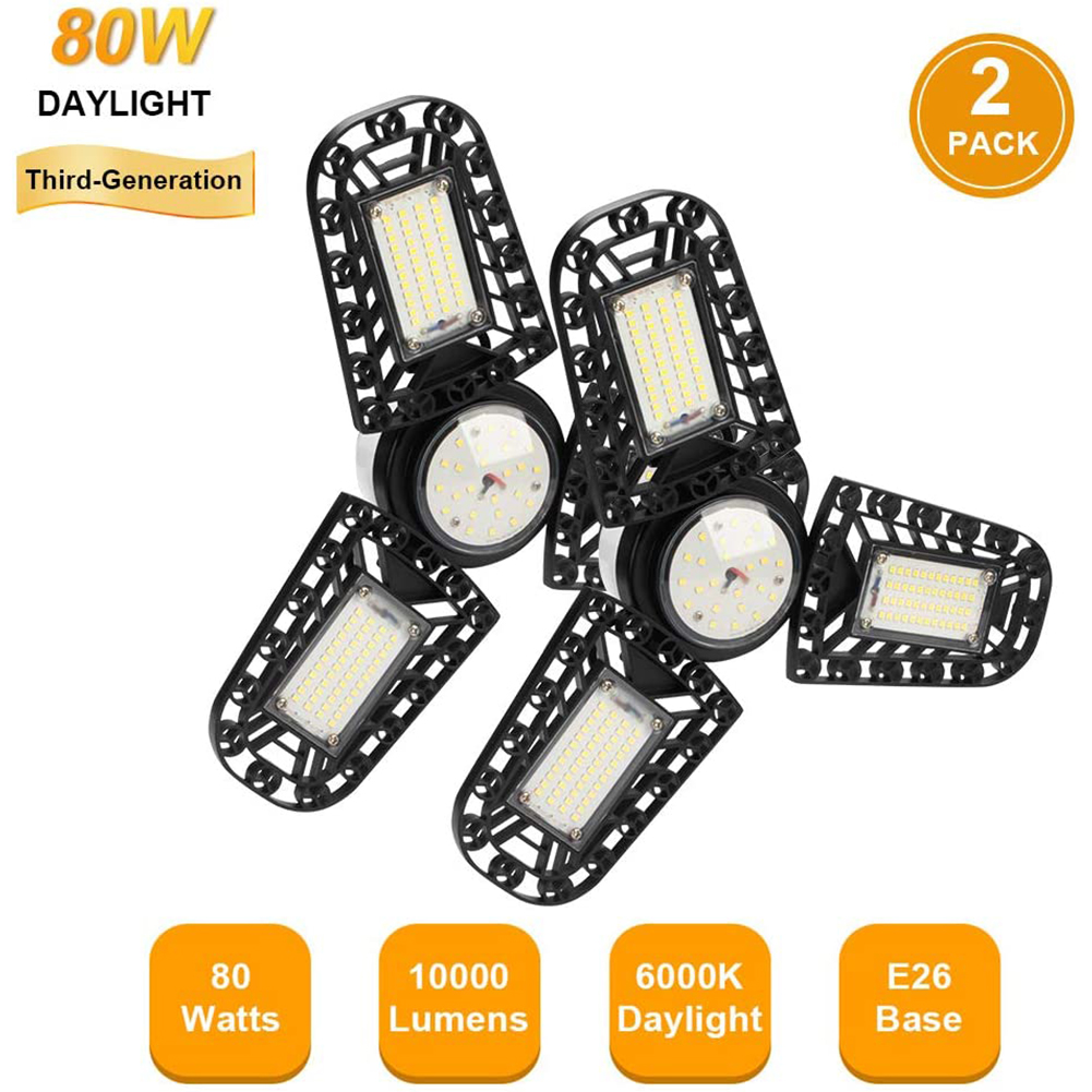 LED Garage Lights 80W 2 Pack E26 10000LM Deformable LED Garage Ceiling Lights