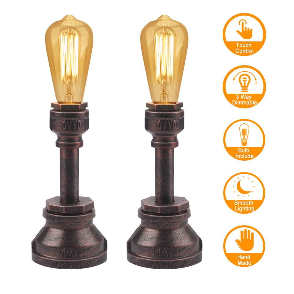 Industrial Lamp Set of 2, 3 Way Dimmable Touch Lamp Industrial Lamp for Bedroom with Vintage Edison Bulb Water Pipe Steampunk Lamp Iron Vintage Lamp for Bedroom Bedside Living Room Cafe Bar House