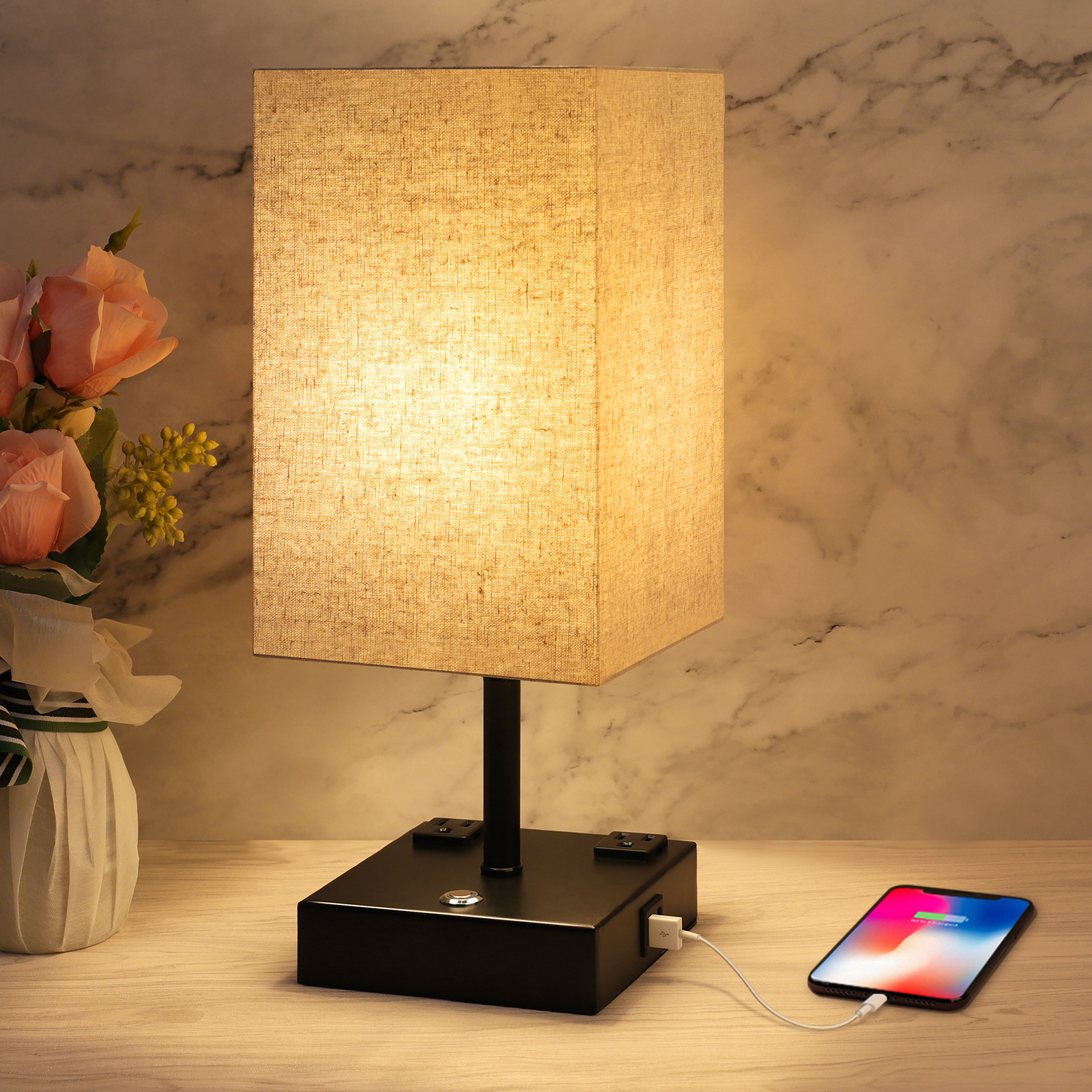 Touch Table Lamp, 3 Way Dimmable Touch Lamp Bedside Lamp with 2 USB Charging Ports and 2 AC Outlets, Modern Nightstand Lamps Bedroom Lamp for Bedroom Living Room Reading Office, LED Bulb Included