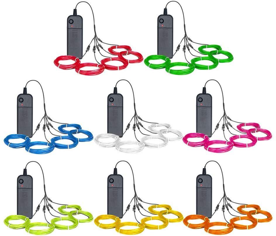 EL-Draht-Kit 5 Durch die 1-Meter (8 Pack, rot, Grün, Rosa, Lila, Blau, Weiß, Gelb, Orange)