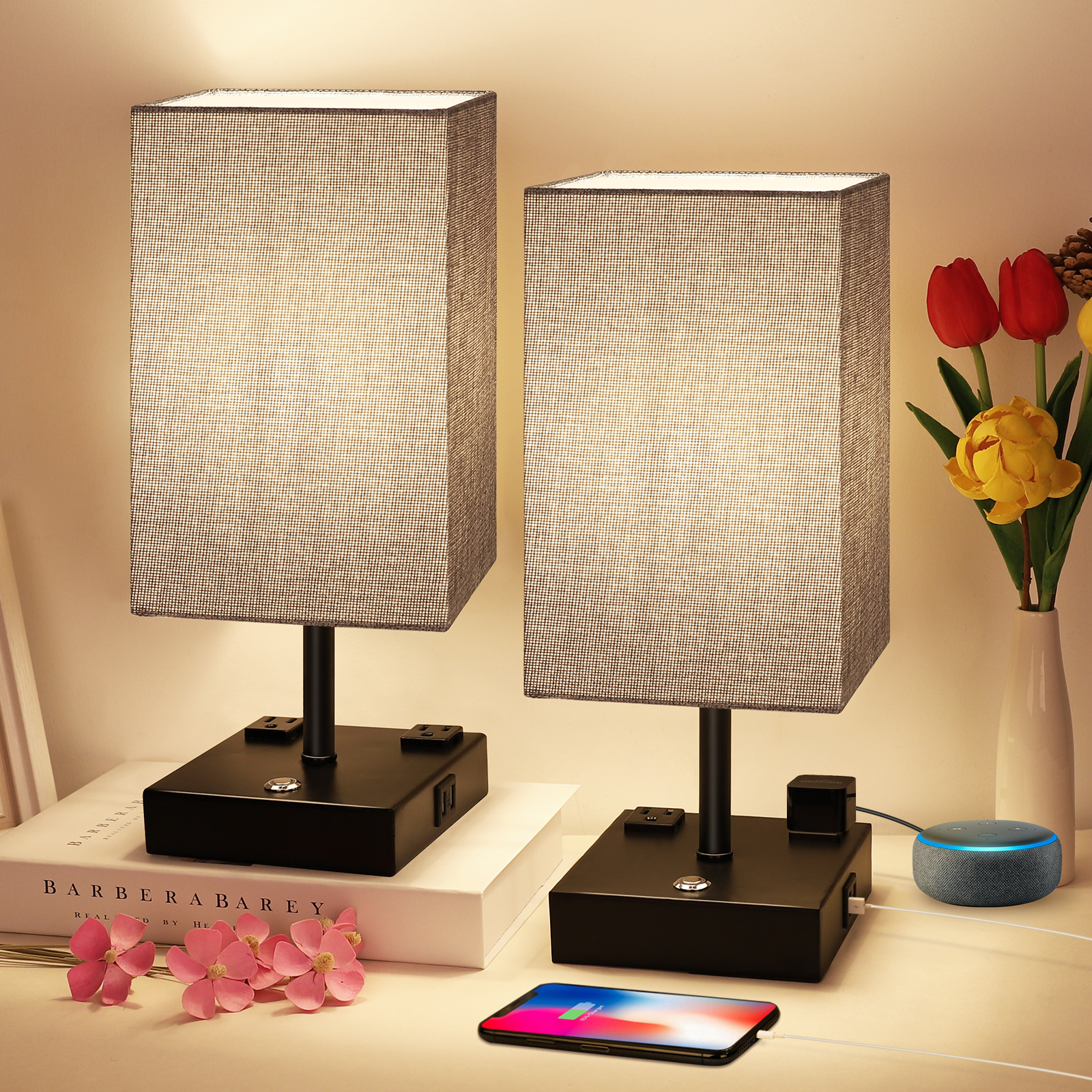 Dimmable Table Lamp Touch Control with USB Charging Ports and AC Outlets