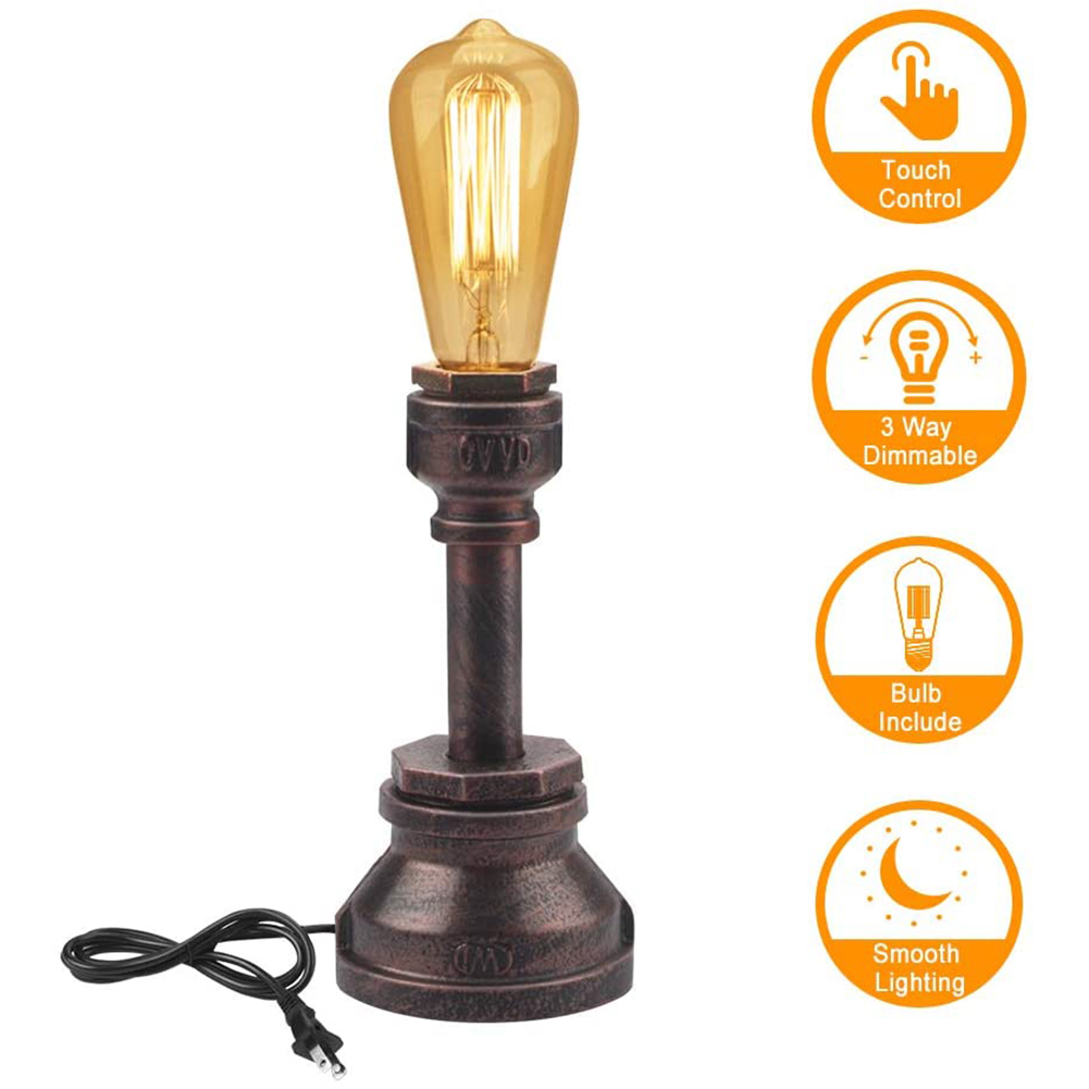 Lámpara de mesa vintage Touch Control Dimmable Steampunk Antique Accent Lamp E26
