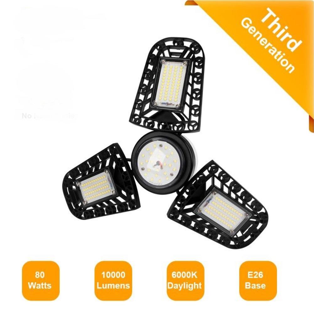 Lumières de garage à LED 80W 1 Pack E26 10000LM Plafonniers LED Déformables pour Garage