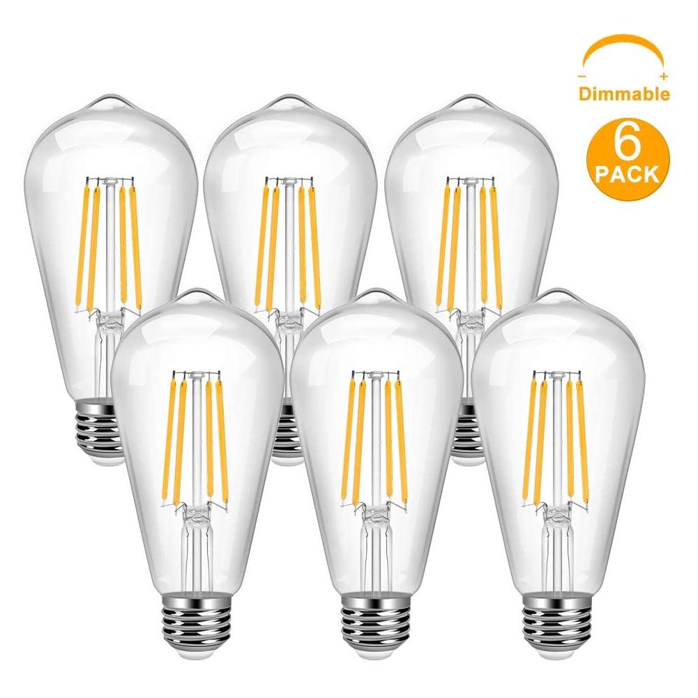 Vintage LED Edison Bulb 6 Pack 8W ST64 LED Edison Bulb Warm White E26 Base