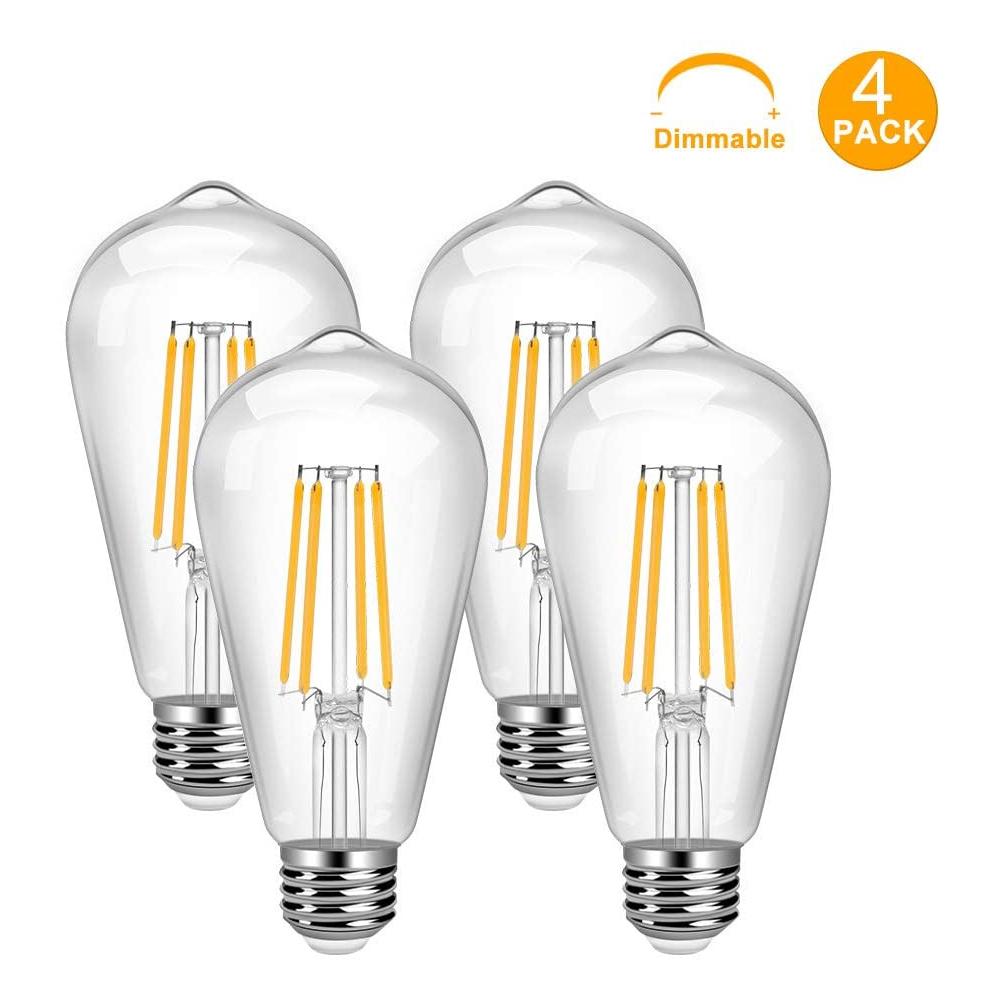 Vintage LED Edison Bulb 4 Pack 8W ST64 LED Edison Bulb Warm White E26 Base