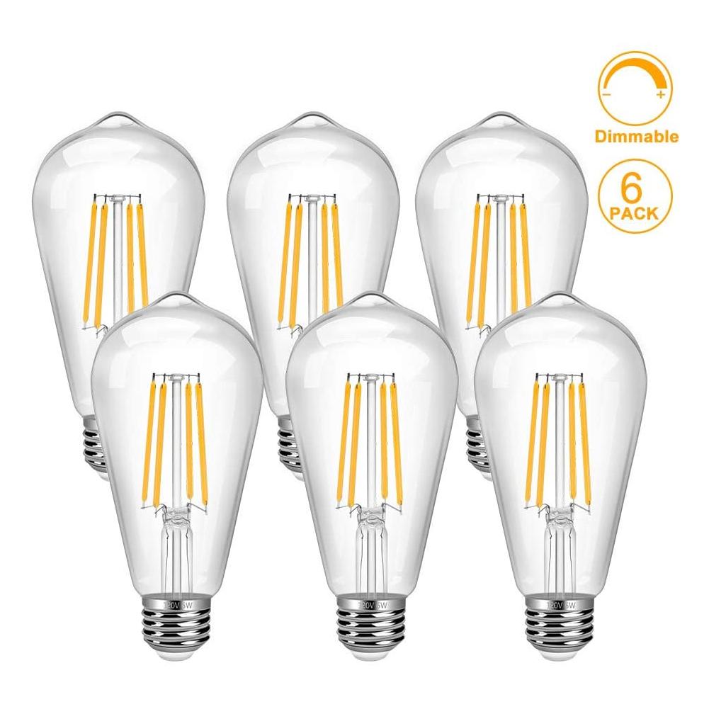 Vintage LED Edison Bulb 6 Pack 6W ST64 LED Edison Bulb Warm White E26 Base