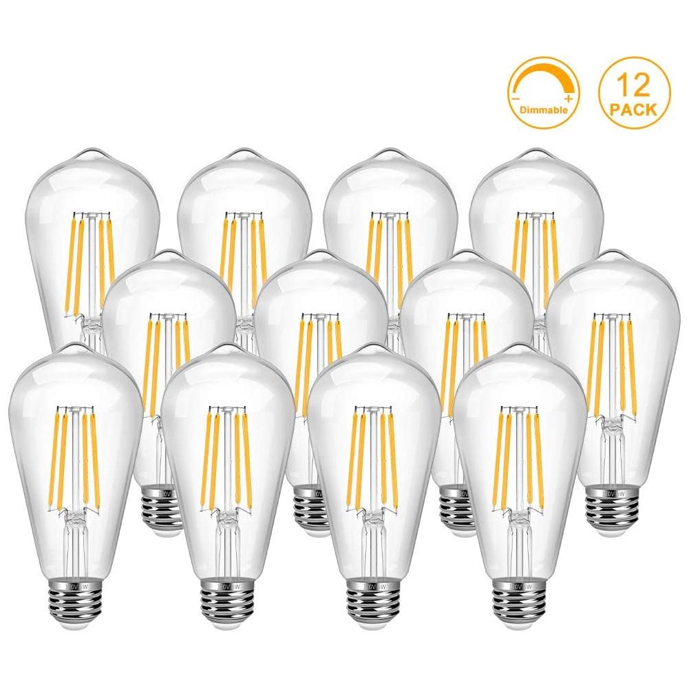 Ampoule LED Edison Vintage 12 Pack Ampoule LED Edison 6W ST64 Base Blanc Chaud E26
