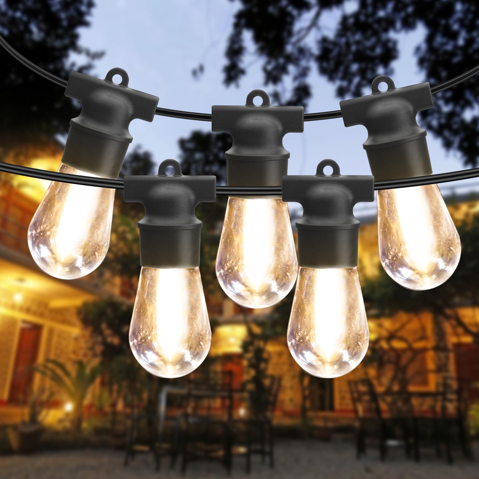2 Pack 48FT guirlande lumineuse extérieure Guirlande lumineuse à LED étanche Guirlande lumineuse à LED Lampes suspendues commerciales S14 4 Ampoules de rechange 2700K lumières extérieures guirlande décorative jardin porche patio