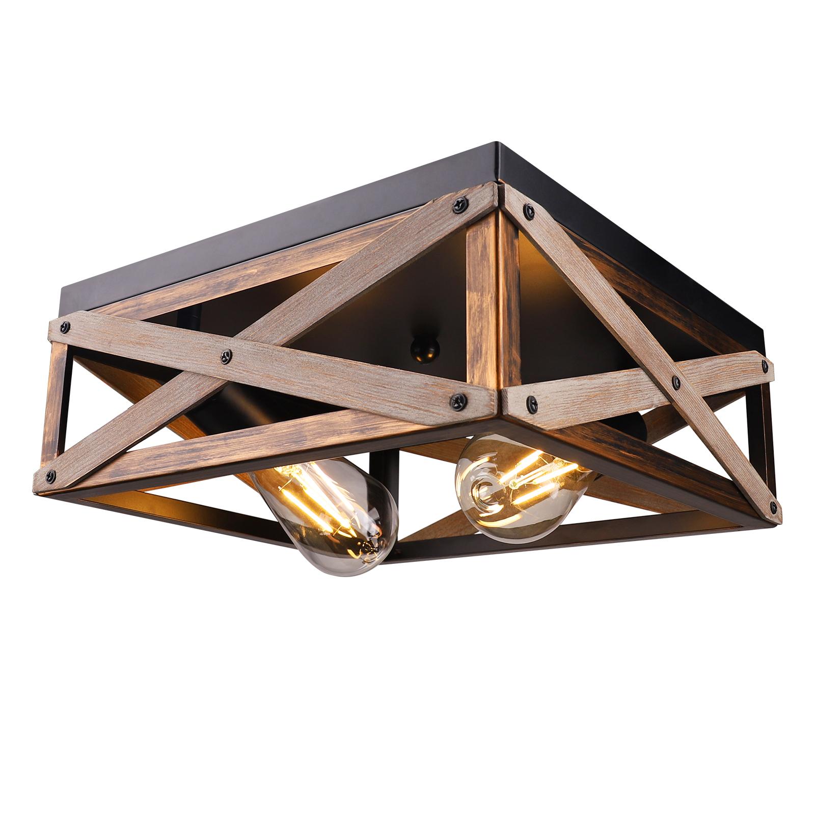 Plafonnier encastré rustique, Luminaires de ferme Plafond à deux lumières en métal et bois massif Plafonniers industriels carrés pour entrée de cuisine
