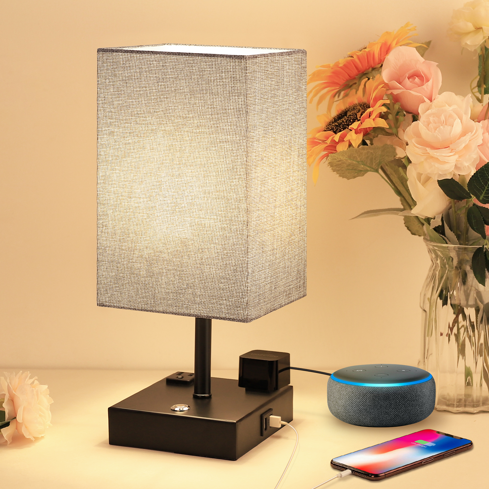 Touch Table Lamp with 2 USB Charging Ports and 2 AC Outlets, 3 Way Dimmable Touch Lamp Bedside Lamp Grey Nightstand Lamps Square Lampshade Bedroom Lamp for Metal Base Perfect for Bedroom Living Room